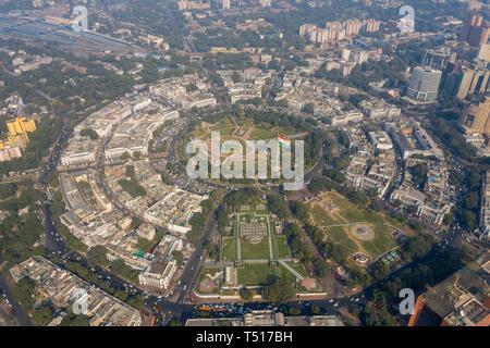 India, New Delhi, Connaught Circle - Stock Photo