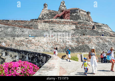 Cartagena Colombia Castillo de San Felipe de Barajas San Lazaro Hill historic colonial fortress castle World Heritage Site Hispanic resident residents - Stock Photo