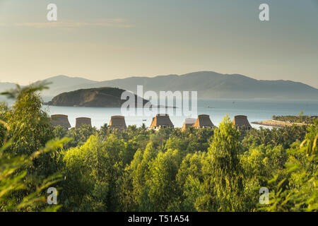 Nha Trang city, Vietnam - January 28, 2016: a resort area is built in the form of model minority Rong Highlands. house of J'rai people in highland - Stock Photo