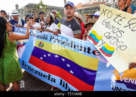Cartagena Colombia Old Walled City Center centre Centro Hispanic resident residents man woman protesters demonstration Venezuelan exiles supporting in - Stock Photo