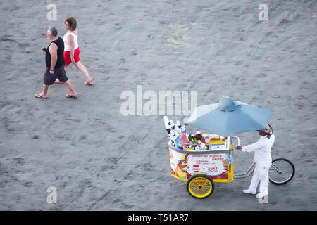 Cartagena Colombia El Laguito Caribbean Sea public beach vendor ceviche - Stock Photo