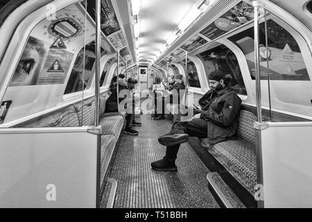 22/03/2019 Passengers on the Glasgow SPT subway - Stock Photo