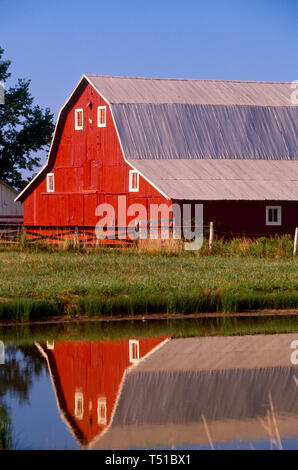 Idyllic rural Midwestern painted red barn in afternoon light reflected in lake, Missouri, USA - Stock Photo
