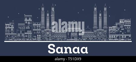 Outline Sanaa Yemen City Skyline with White Buildings. Vector Illustration. Business Travel and Concept with Modern Architecture. Sanaa Cityscape. - Stock Photo