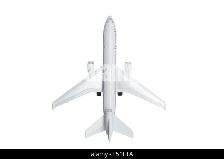 toy white three-engine wide-body jet airliner isolated - Stock Photo