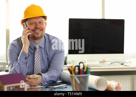 Foreman Sketching Architect Blueprint Making Deal - Stock Photo