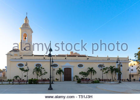 Catholic church located in the city center park. The famous colonial place is part of the National Monument and tourist attraction that is the downtow - Stock Photo