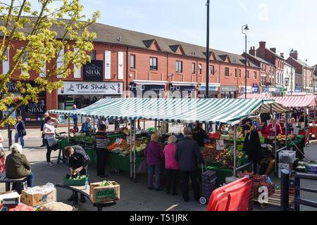 Hucknall Market and Church in Nottinghamshire,UK. - Stock Photo