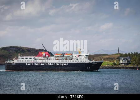 Caledonian MacBrayne ferry leaving Oban, west coast of Scotland. - Stock Photo