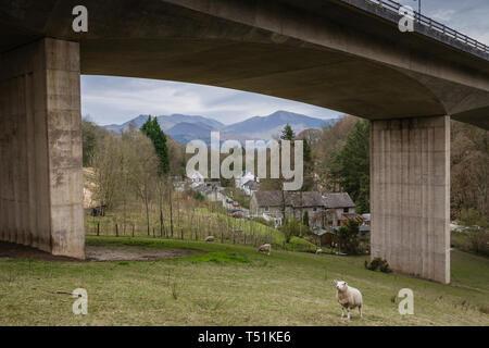 A66 Keswick bypass bridge framing the Lake District landscape. - Stock Photo