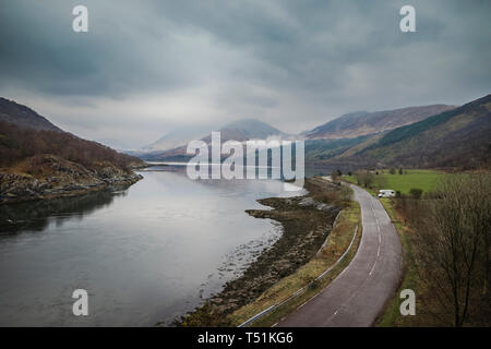 Campervan at Dallachulish between Oban and Fort William. - Stock Photo