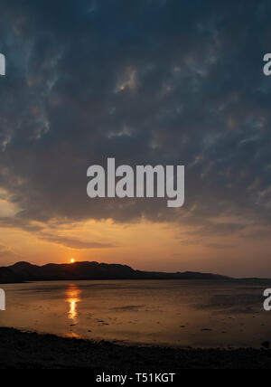 Sunset over Loch Ewe at Poolewe, Scotland - Stock Photo