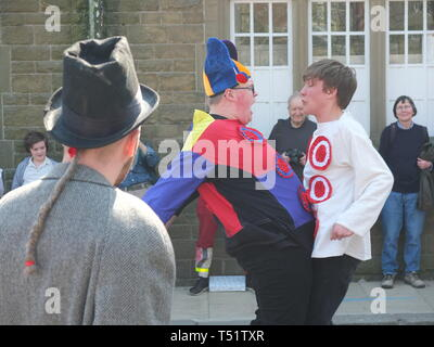 Young performers in the Midgley Pace Egg Play at Hebden Bridge, a traditional mumming play performed for hundreds of years in the Calder Valley - Stock Photo