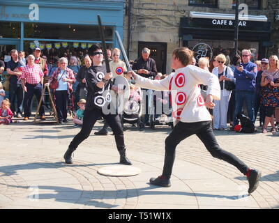 Sword fight in the Midgley Pace Egg Play at Hebden Bridge, a traditional mumming play performed for hundreds of years in the Calder Valley - Stock Photo