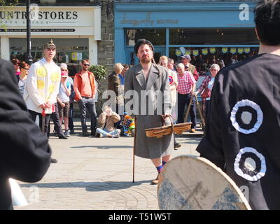 'Tosspot' character in the Midgley Pace Egg Play at Hebden Bridge, a traditional mumming play performed for hundreds of years in the Calder Valley - Stock Photo