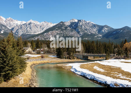 FAIRMONT HOT SPRINGS, CANADA - MARCH 18, 2019: spring in small town situated in rocky mountains british columbia - Stock Photo