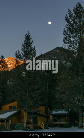 FAIRMONT HOT SPRINGS, CANADA - MARCH 18, 2019: night in small town situated in rocky mountains british columbia - Stock Photo