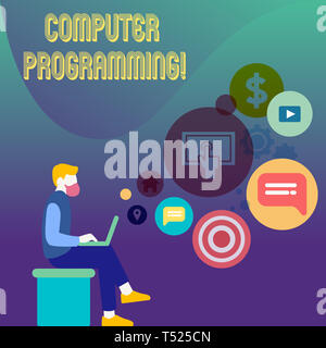 Conceptual hand writing showing Computer Programming. Concept meaning process that instructs a computer on how to do a task Man Sitting with Laptop an - Stock Photo
