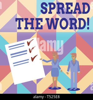Conceptual hand writing showing Spread The Word. Concept meaning share the information or news using social media Man and Woman Presenting Report of C - Stock Photo