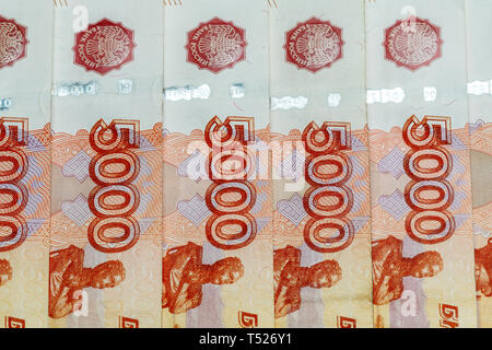 Five thousand rubles bill. Russian banknotes close up. - Stock Photo
