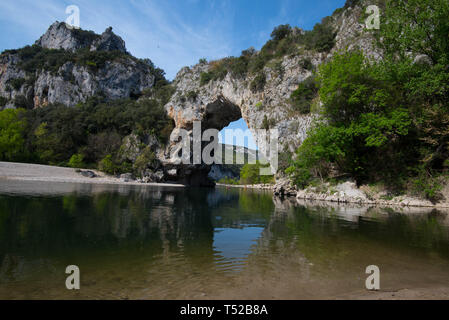 Pont d'Arc rock at the Ardeche river in France - Stock Photo