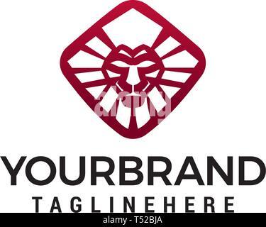 lion geometric logo design concept template vector - Stock Photo