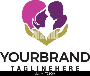 Mom baby care logo design concept template vector - Stock Photo