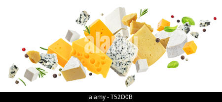Cheese assortment isolated on white background - Stock Photo