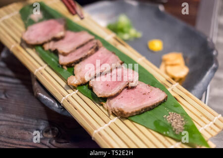 Wagyu meat served on plate, Japanese food - Stock Photo