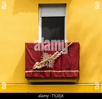 Palm sculpture on display for Holy Week in Seville - Stock Photo