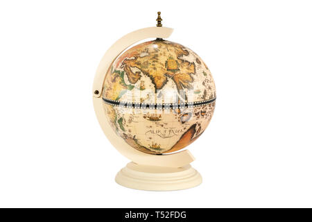 old vintage globe with indian ocean in front isolated on white background - Stock Photo