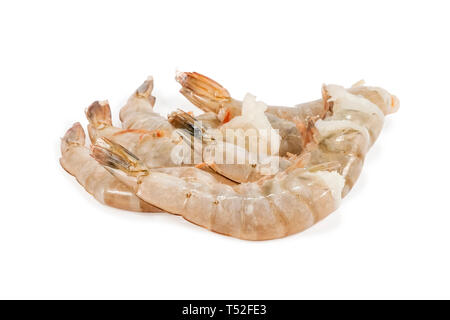 several frozen headless tiger shrimps isolated on white background - Stock Photo