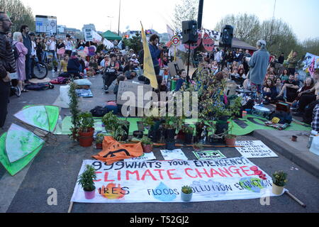 Extinction Rebellion  maintain their stranglehold on Central London with their relatively small numbers - 19th April 2019. - Stock Photo