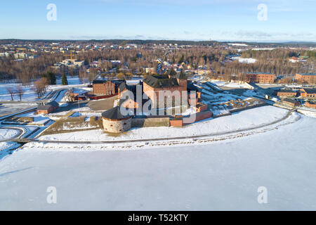 View of the ancient fortress-prison of the town of Hameenlinna on a sunny March day (aerial survey). Finland - Stock Photo