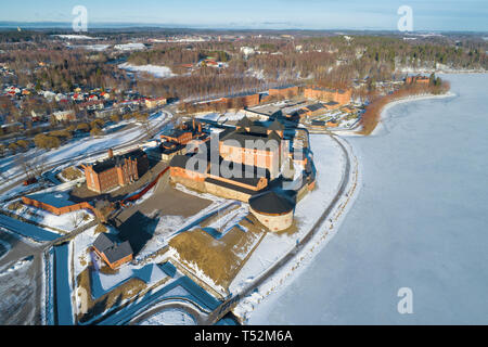 A view from the heights of the ancient Hameenlinna fortress on a sunny March day. Finland - Stock Photo