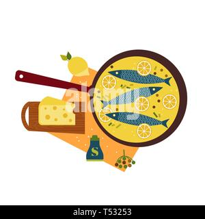 Fresh fish cooked with cheese in pan flat hand drawn vector icon - Stock Photo