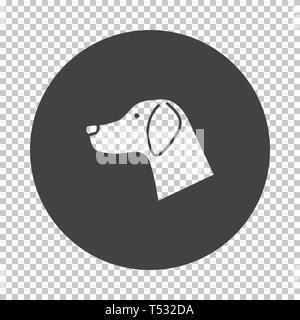 Dog head icon. Subtract stencil design on tranparency grid. Vector illustration. - Stock Photo