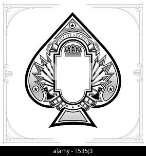 Vintage weapon and arrows with frame in the middle of ace of spades form. Military design playing card element black on white - Stock Photo
