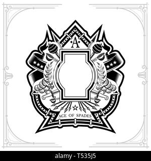 Vintage weapon and frame with wreath in the middle of ace of spades form. Military design playing card element or print isolated on white - Stock Photo