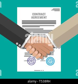 Contract agreement paper blank with seal and handshake. Businessmen shake hands after successful deal. Vector illustration in flat style - Stock Photo