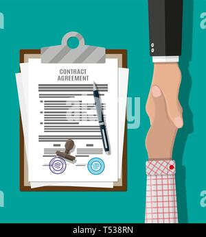 Contract agreement paper blank with seal, pen and handshake. Businessmen shake hands after successful deal. Vector illustration in flat style - Stock Photo