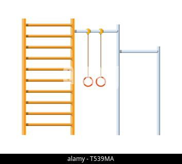 Street workout place. Horizontal bar with climbing rings and ladder. Sport, gym, fitness, exercise, kids playground element. Vector illustration in fl - Stock Photo
