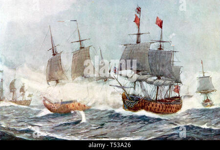 BATTLE OF QUIBERON BAY 20 November 1759 - Stock Photo