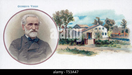 GIUSEPPE VERDI (1813-1901) Italian opera composer shown with his childhood home at Le Roncole Stock Photo