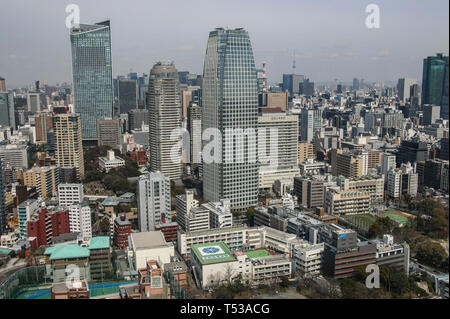 TOKYO, JAPAN - MARCH 25, 2019: Aerial view on Tokyo from Tokyo Tower - Stock Photo