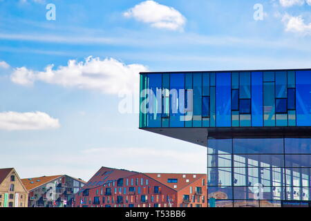 Copenhagen, Denmark-2 August, 2018: Modern building of the New Royal Playhouse Theater in historic city center facing famous Copenhagen waterfront, Ny