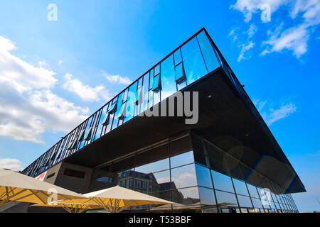 Copenhagen, Denmark-2 August, 2018: Modern building of the New Royal Playhouse Theater in historic city center facing famous Copenhagen waterfront, Ny - Stock Photo