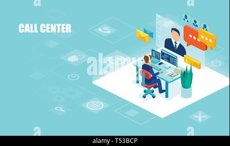 Call center and technical support concept. Vector of a male operator with headset working in the office assisting a client - Stock Photo