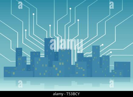 Smart city concept. Vector template with skyscrapers skyline controlled and interconnected by modern digital technology. - Stock Photo