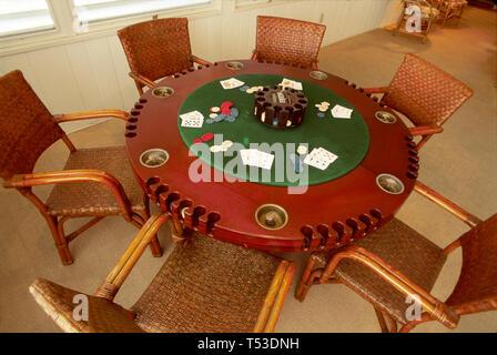 Key West Florida Keys Little White House US President Harry Truman museum poker table - Stock Photo